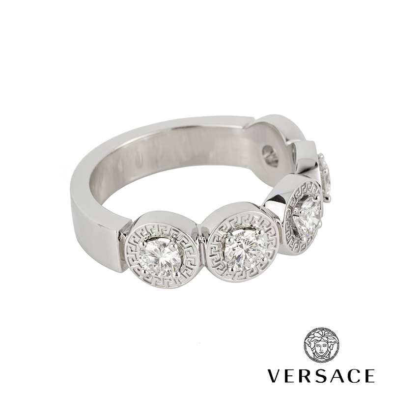 Versace White Gold Diamond Set Dress Ring